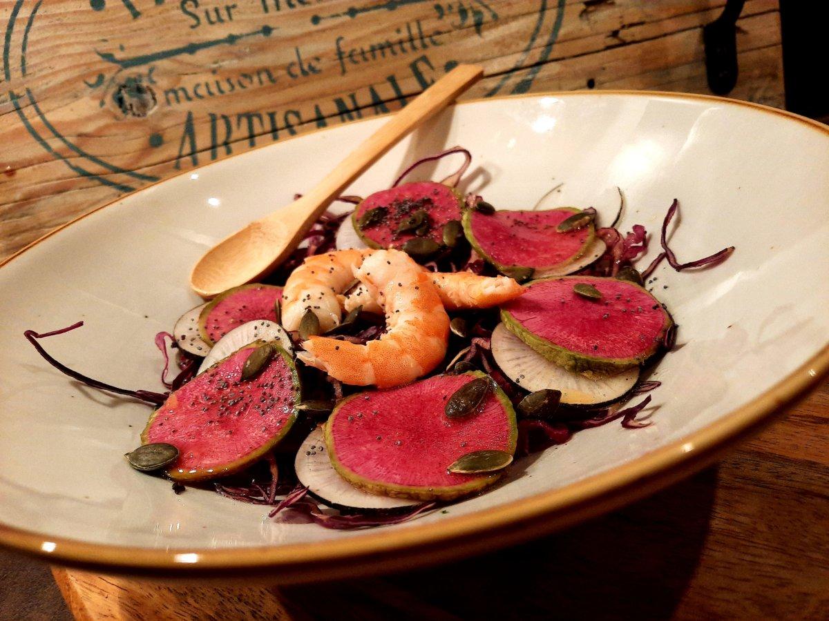 salade de chou rouge radis noir et asiatique