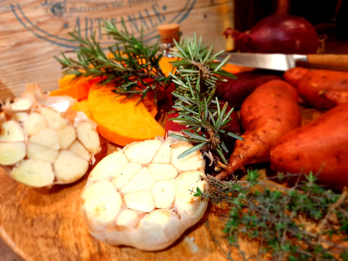 butternut et papate douce roties - mijote et papote